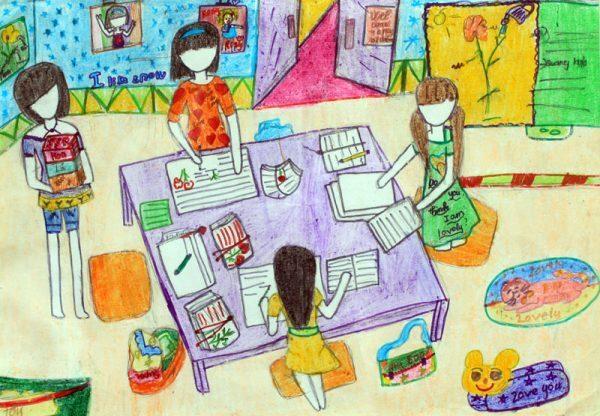 vẽ tranh về đề tài học tập